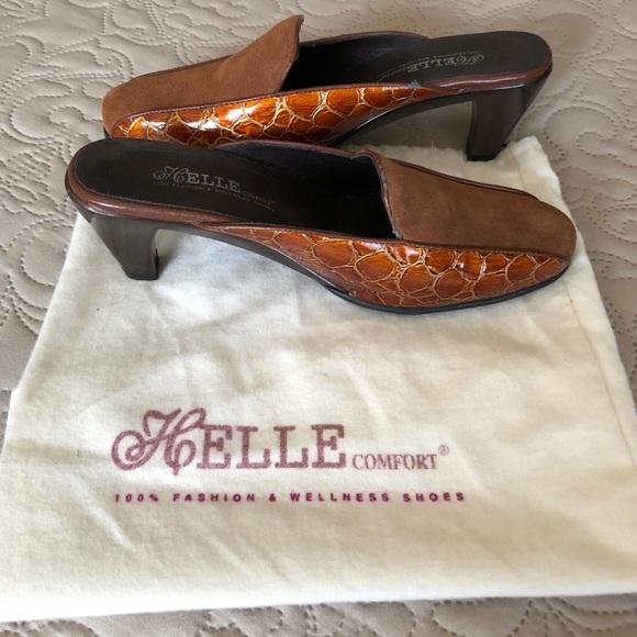 b41fba5c5 Helle Comfort Heeled Mules Cognac- Size 8